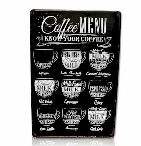 Coffee Menu Bar Metal Sign Home Decor Kitchen Cafe Office Workshop Wall Restaurant