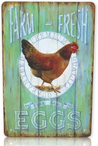 Farm-Fresh Premium Quality Eggs - Est Free Range 1927 Metal Sign 8x12 Inches