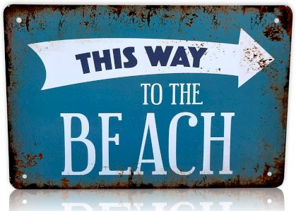 Beach Sign This Way to The Beach House Decor | Beach Decor Perfect for Ocean Lovers, Bathroom Wall Decor, Beach Gifts Metal Sign 8x12 Inches