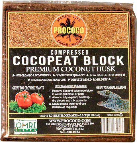 Prococo Cocopeat Premium Coconut Coir Top Quality 100% Organic, Ideal for Soil Aeration, Drainage & Moisture Retention, Hydroponic & Aquaponic Uses, Best for Plants, Landscape Projects and Reptiles