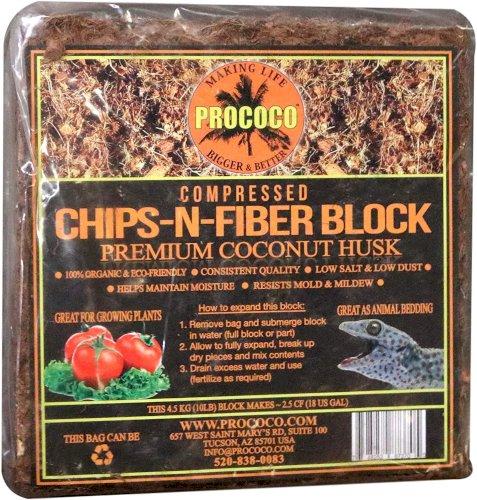 Prococo Chips-N-Fiber Premium Coconut Husk Coconut Husk organic coconut coir chips and fiber makes 75 quarts of coco coir growing media for planting