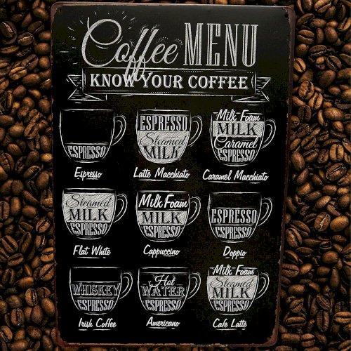 Coffee Menu Bar Metal Sign Home Decor Kitchen Cafe Office Workshop Wall Restaurant