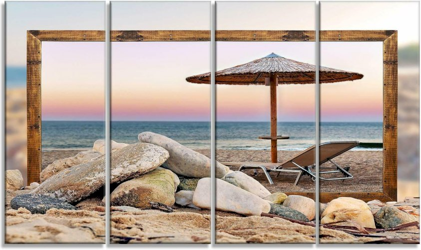 Beach Ocean Shore Sunset chair umbrella Horizontal Metal Canvas Wall Art Home Decor 48 x 28